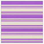 [ Thumbnail: Beige & Dark Orchid Colored Lined/Striped Pattern Fabric ]