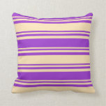 [ Thumbnail: Beige & Dark Orchid Colored Lined/Striped Pattern Throw Pillow ]