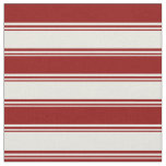 [ Thumbnail: Beige & Dark Red Colored Striped Pattern Fabric ]