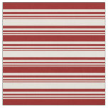 [ Thumbnail: Beige & Dark Red Lines Fabric ]