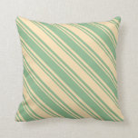 [ Thumbnail: Beige & Dark Sea Green Colored Lines Pattern Throw Pillow ]