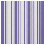 [ Thumbnail: Beige & Dark Slate Blue Colored Lines Pattern Fabric ]