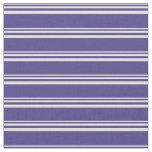 [ Thumbnail: Beige & Dark Slate Blue Colored Striped Pattern Fabric ]