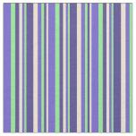 [ Thumbnail: Beige, Dark Slate Blue, Light Green & Slate Blue Fabric ]