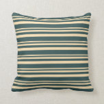 [ Thumbnail: Beige & Dark Slate Gray Colored Lined Pattern Throw Pillow ]