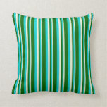 [ Thumbnail: Beige, Dark Turquoise, and Dark Green Colored Throw Pillow ]