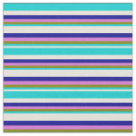 [ Thumbnail: Beige, Dark Turquoise, Green, Orchid & Dark Blue Fabric ]