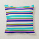 [ Thumbnail: Beige, Dark Turquoise, Green, Orchid & Dark Blue Throw Pillow ]