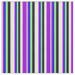[ Thumbnail: Beige, Dark Violet, Blue, Light Green, and Black Fabric ]