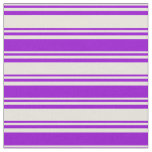 [ Thumbnail: Beige & Dark Violet Colored Stripes Fabric ]