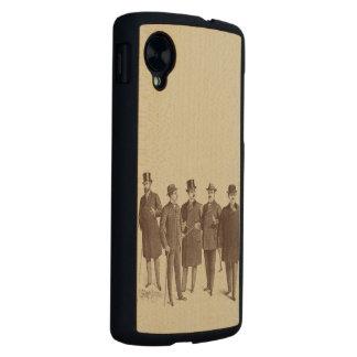 Beige de Brown de la moda de los hombres de los Funda De Nexus 5 Carved® De Arce