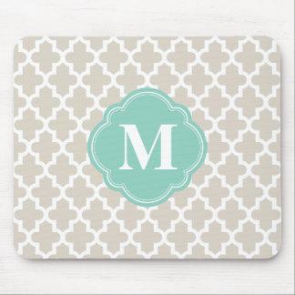 Beige de lino y monograma de encargo marroquí de mousepads