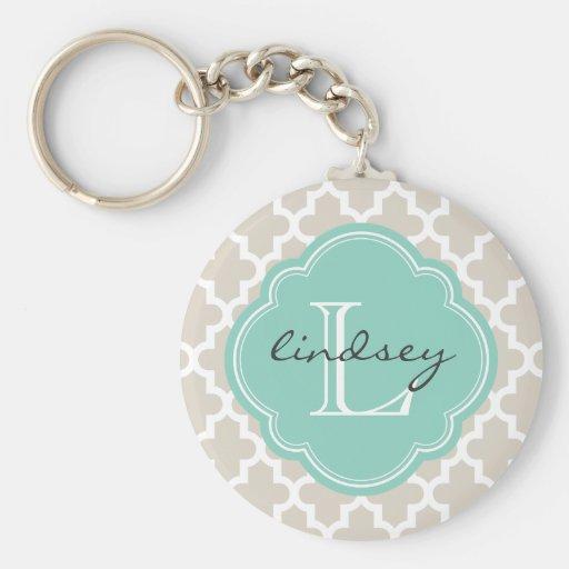 Beige de lino y monograma de encargo marroquí mode llavero personalizado