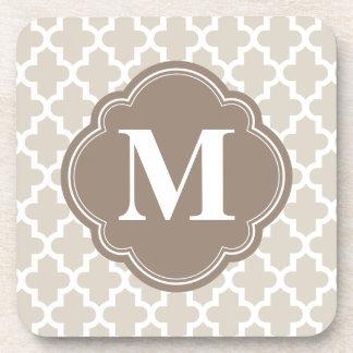 Beige de lino y monograma marroquí moderno de Brow Posavasos