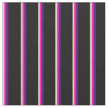 [ Thumbnail: Beige, Deep Pink, Indigo & Black Colored Stripes Fabric ]