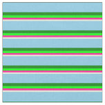 [ Thumbnail: Beige, Deep Pink, Lime, Green, and Sky Blue Lines Fabric ]