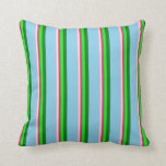 [ Thumbnail: Beige, Deep Pink, Lime, Green, and Sky Blue Lines Throw Pillow ]