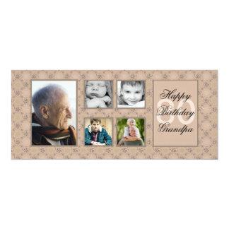 """Beige Diamonds Multi-Photo Invitation 4"""" X 9.25"""" Invitation Card"""