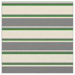 [ Thumbnail: Beige, Dim Grey, and Dark Green Pattern Fabric ]