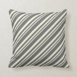 [ Thumbnail: Beige & Dim Grey Colored Stripes/Lines Pattern Throw Pillow ]
