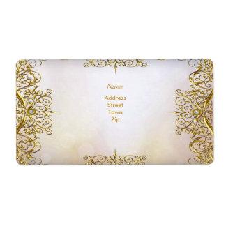 Beige elegante del oro del boda del oro blanco de etiquetas de envío