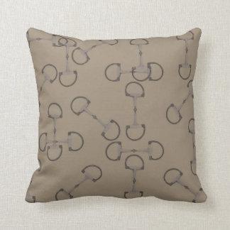 Beige Equestrian Horse Bits Pillow