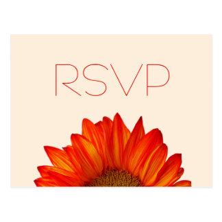 Beige Fall Wedding RSVP Postcards Orange Sunflower