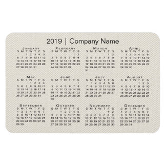 Beige Faux Canvas 2019 Calendar with Company Name Magnet