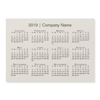 Beige Faux Canvas with Company Name 2019 Calendar