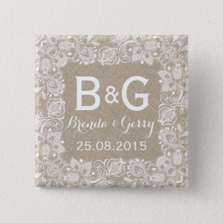 Beige Faux Linen & White Floral Lace Frame 2 Button