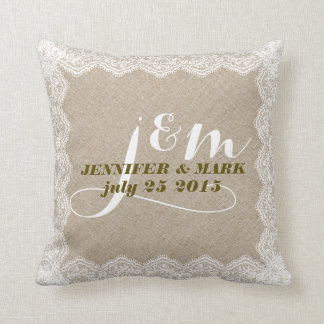 Beige Faux Linen & White Lace Wedding Pillow