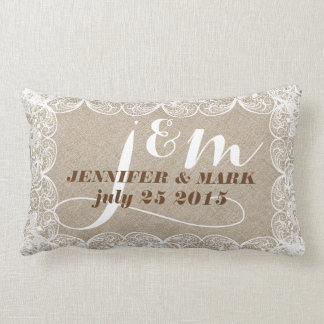 Beige Faux Linen & White Lace Wedding Pillow 2