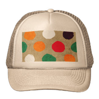 Beige faux suede  & colorful big polka dots fun mesh hats