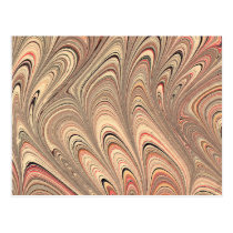 Beige Feather Boho Abstract Pattern Postcard