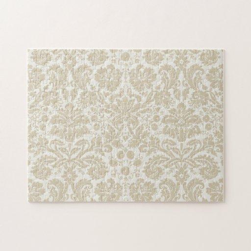 Beige floral adornado del modelo del nouveau del a puzzle con fotos