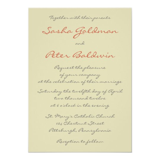 Beige Floral Band Wedding Invitation