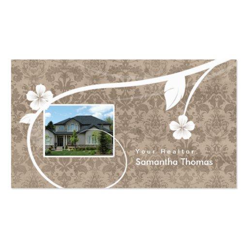 Beige floral de la tarjeta de visita del damasco