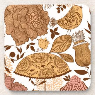 beige floral design coaster