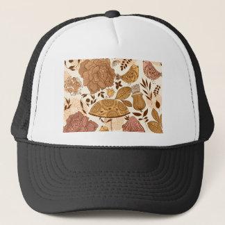 beige floral design trucker hat