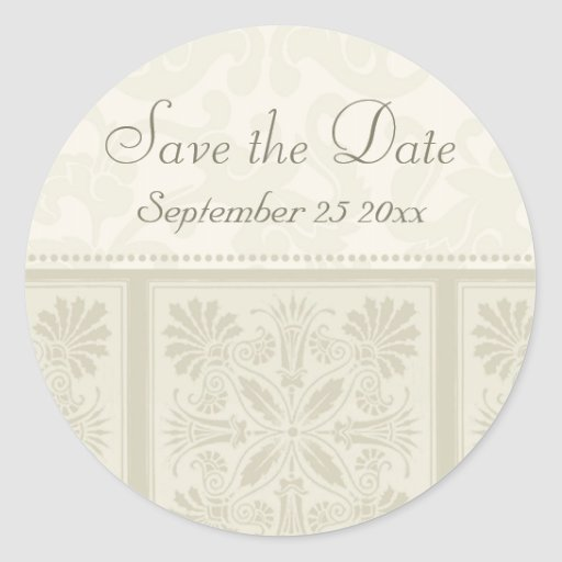 Beige Floral Elegant Save the Date Envelope Seals Round Stickers