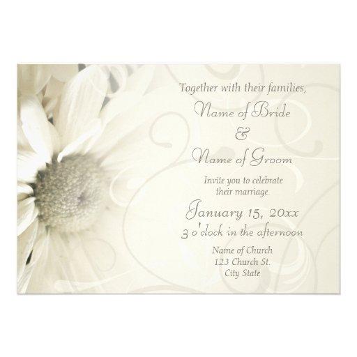"Beige Floral Elegant Wedding Invitation Cards 5"" X 7"" Invitation Card ..."