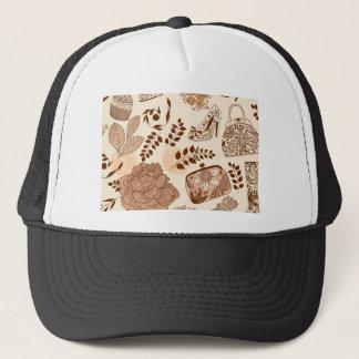 beige floral fashion design trucker hat