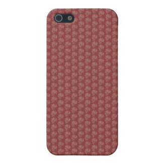 Beige Floral Mini-print on Deep Red Cover For iPhone SE/5/5s