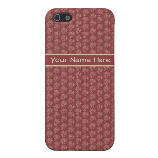 Beige Floral Mini-print Pattern on Deep Red iPhone SE/5/5s Cover