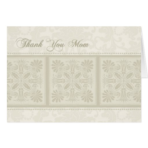 Beige Floral Mom Wedding Day Thank You Card