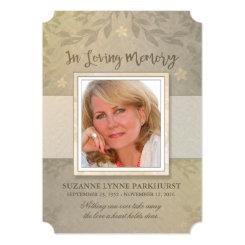 Beige Floral Photo Memorial Service Invitation