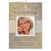 Beige Floral Photo Memorial Service Invite