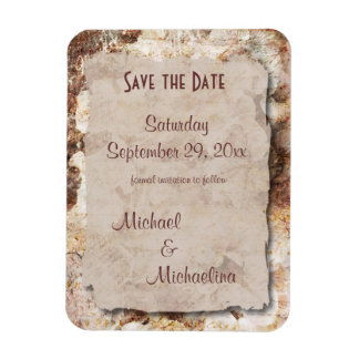 Beige Floral Save The Date Party Favor Magnet