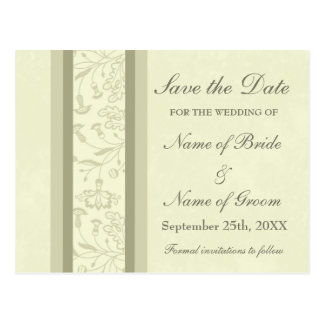 Beige Floral Save the Date Wedding Postcards