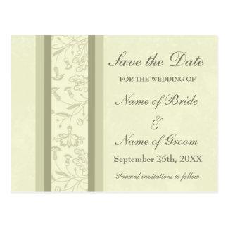 Beige Floral Save the Date Wedding Postcards